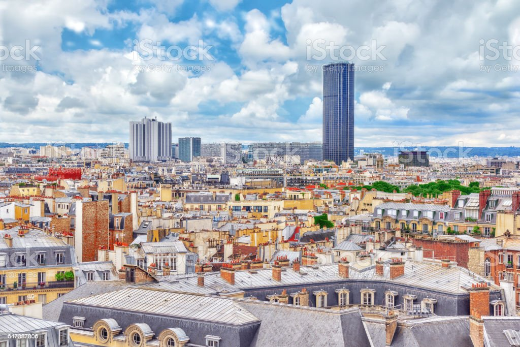 Beautiful panoramic view of Paris from the roof of the Pantheon. View of the Montparnasse tower. stock photo