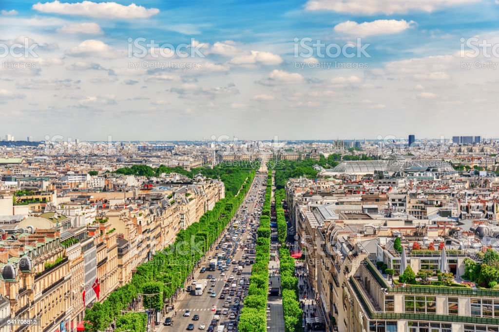 PARIS, FRANCE - JULY 06, 2016 :Beautiful panoramic view of Paris from the roof of the Triumphal Arch. Champs Elysees. stock photo