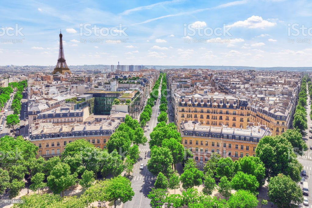 Beautiful panoramic view of Paris from the roof of the Triumphal Arch. View of the Eiffel Tower. stock photo