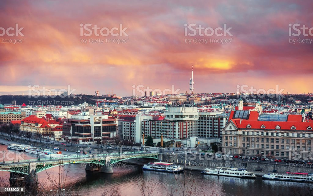Beautiful Panoramic View of Prague Bridges on River Vltava stock photo