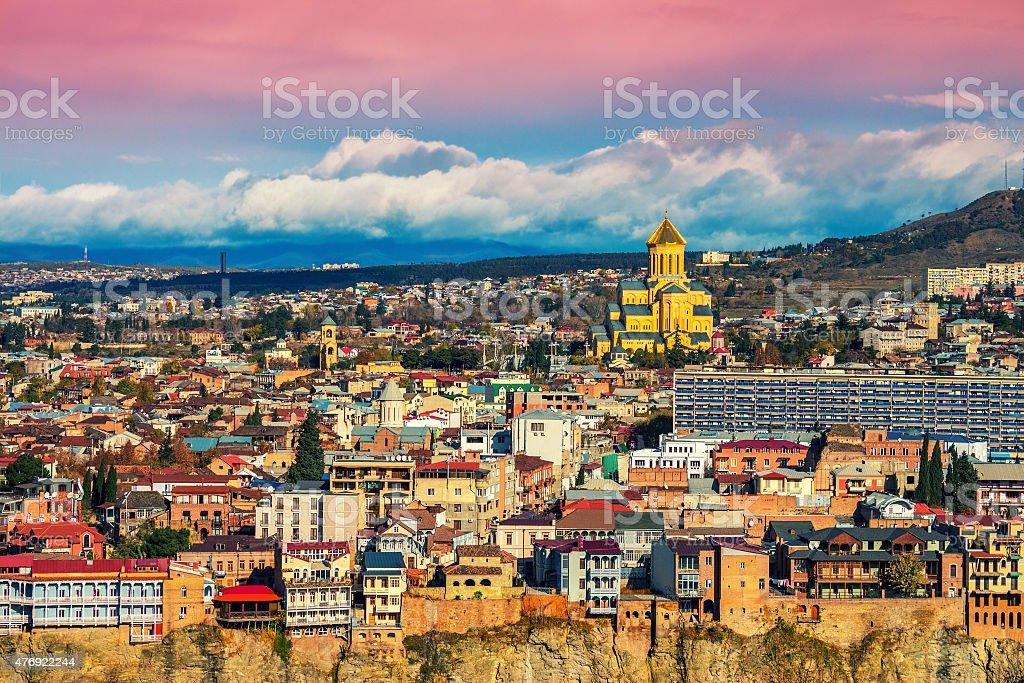 Beautiful panoramic view of Tbilisi at sunset stock photo