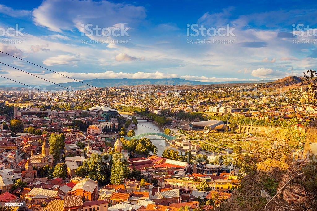 Beautiful panoramic view of Tbilisi stock photo
