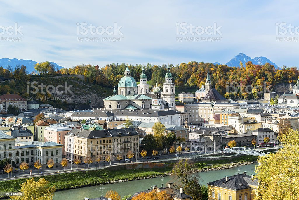 Beautiful panoramic view of the historic city of Salzburg stock photo