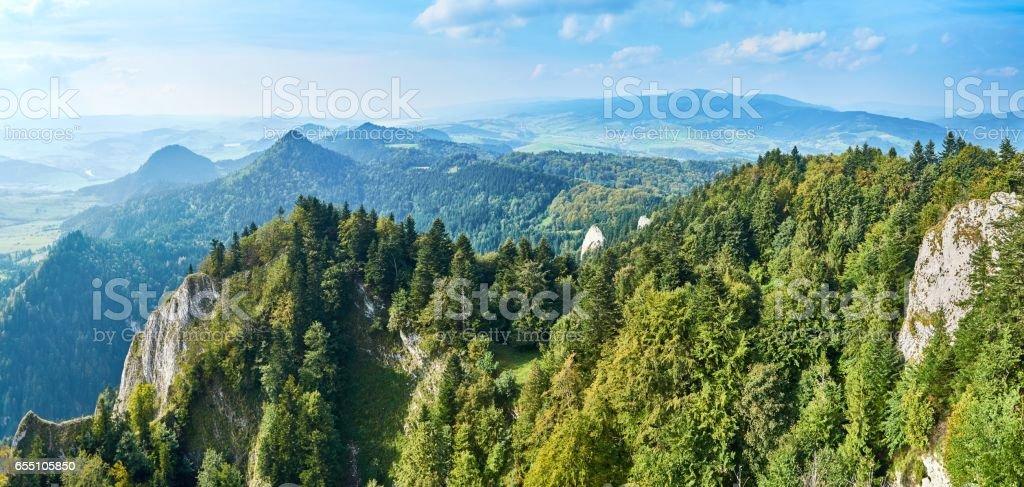 Beautiful panoramic view of the Pieniny National Park, Poland in sunny september day from Trzy Korony - English: Three Crowns stock photo