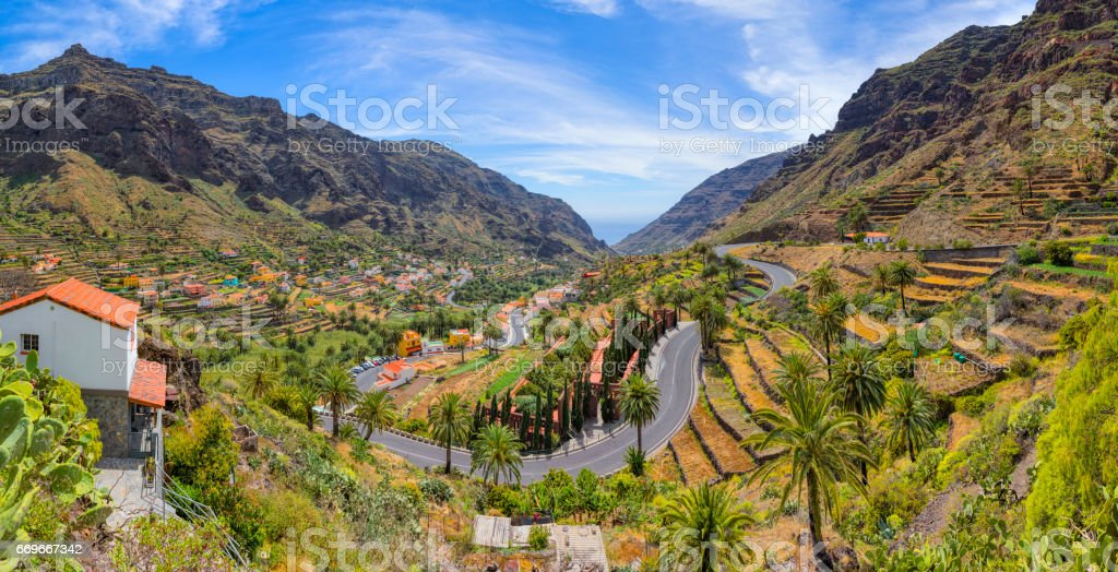 Beautiful panoramic view of Valle Gran Rey on Canary Islands La Gomera - Spain stock photo