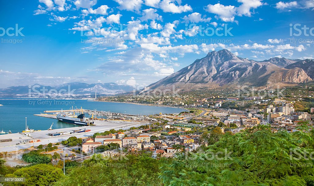 Beautiful panoramic view on harbor of Termini Imerese, Sicily stock photo