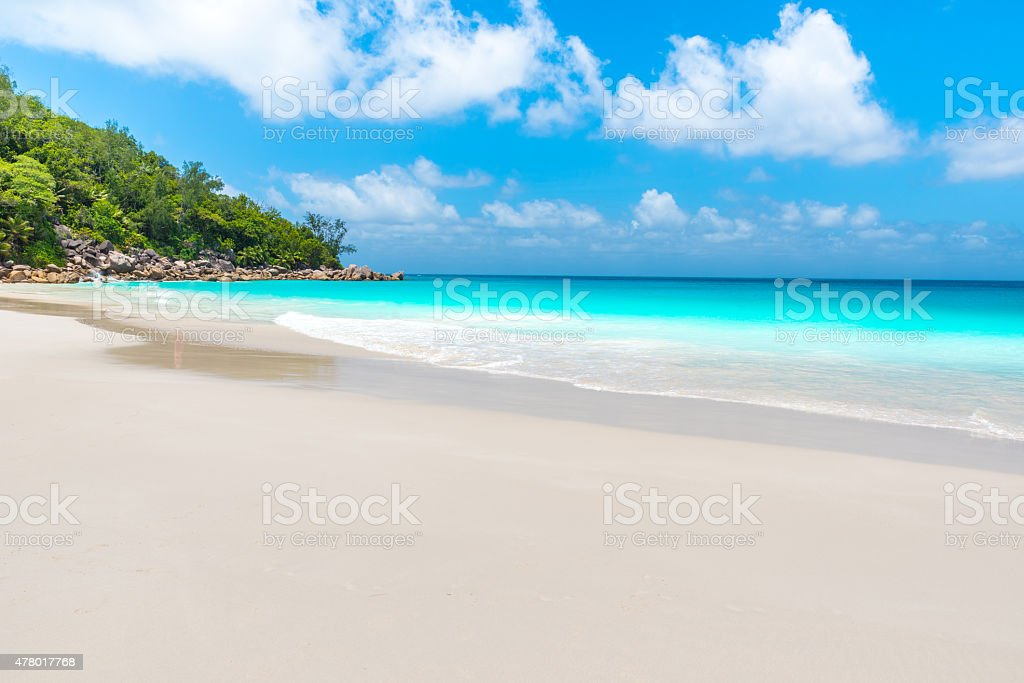 Beautiful Paradise beach - Paradise tropical island stock photo