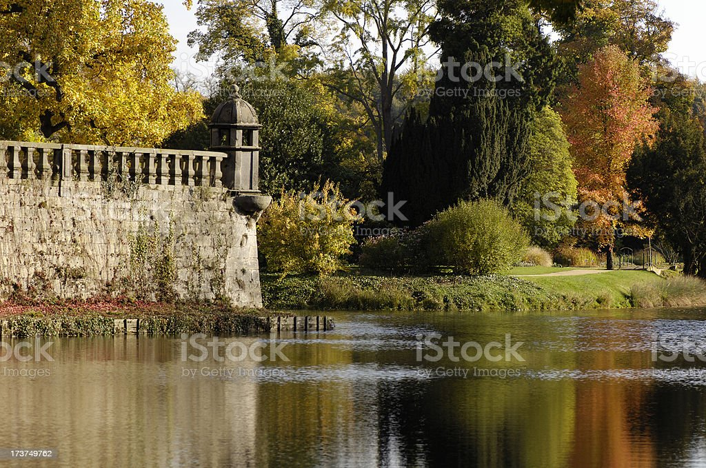 Beautiful park in fall royalty-free stock photo