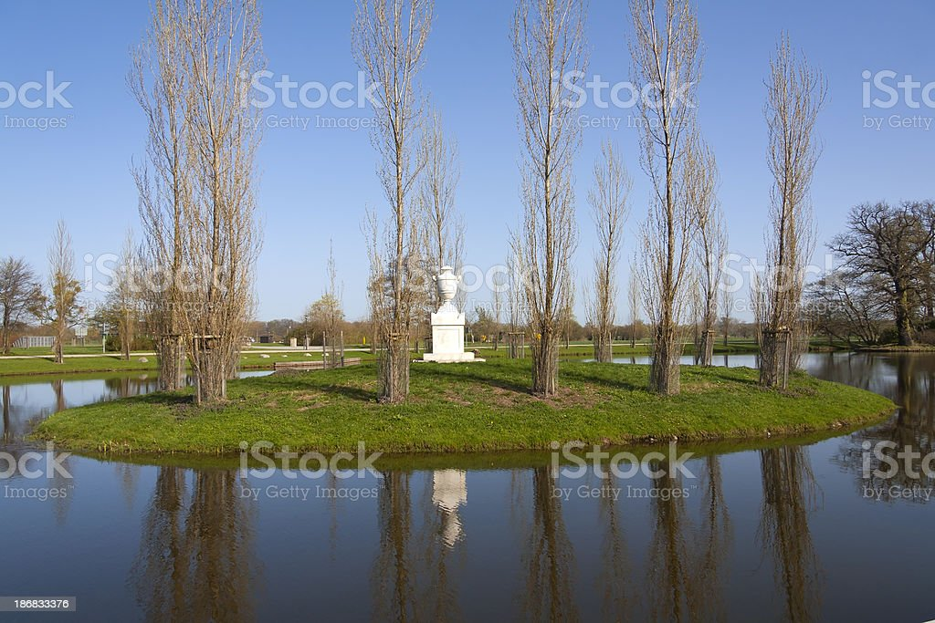 Beautiful park with an island stock photo