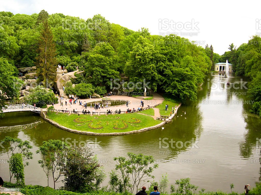 Beautiful park with lake and trees stock photo