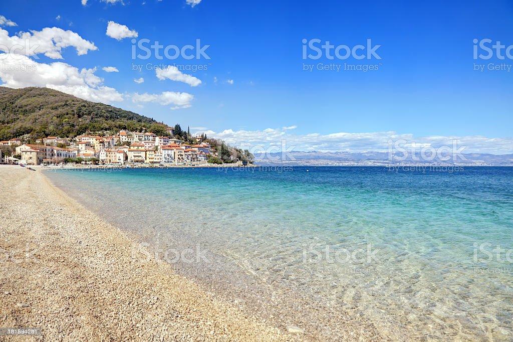Beautiful pebble beach in Moscenicka Draga royalty-free stock photo