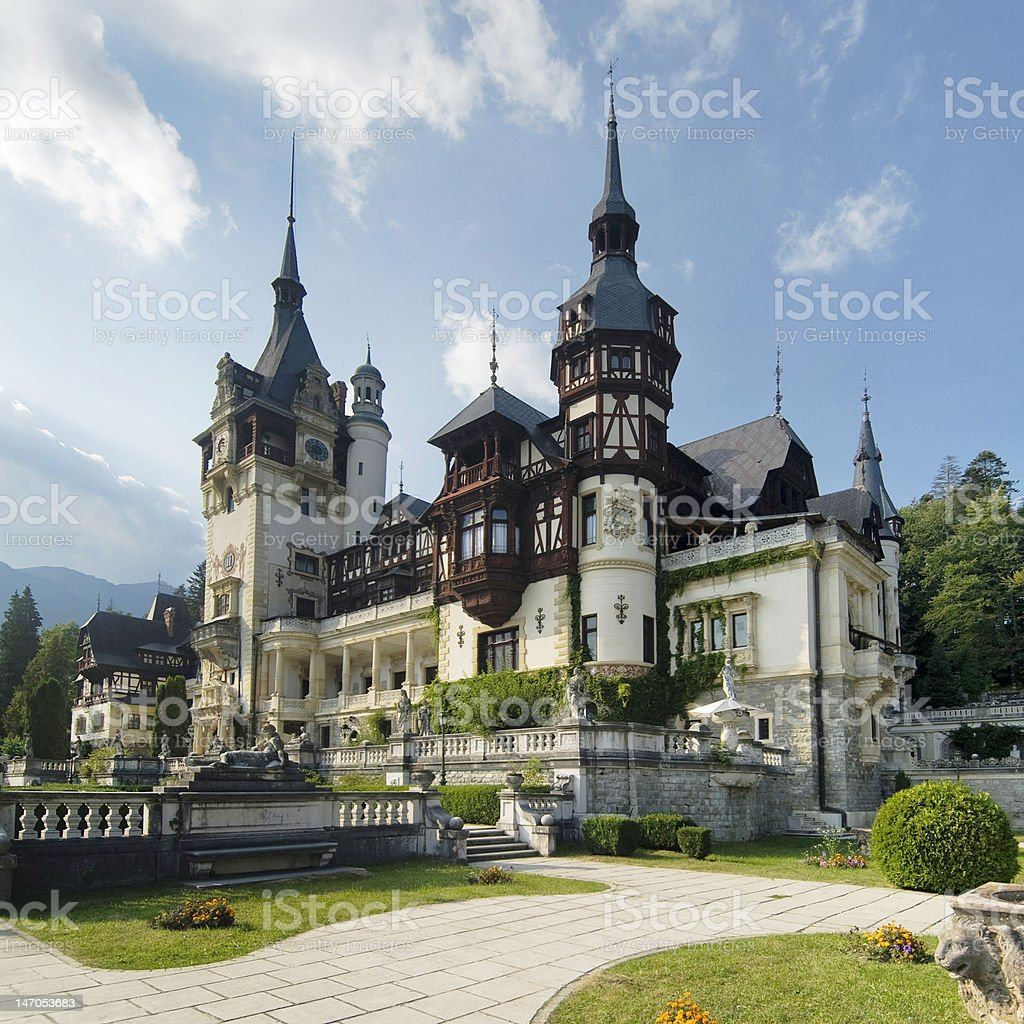 Beautiful Peles Castle in Sinaia, Romania stock photo