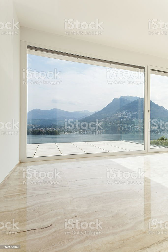 Beautiful penthouse, empty living room stock photo