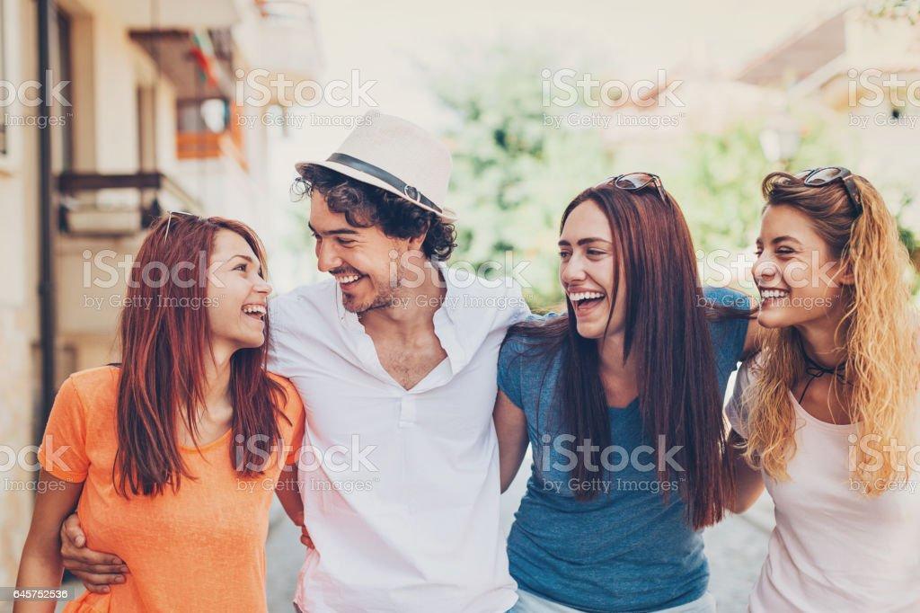 Beautiful people walking together stock photo