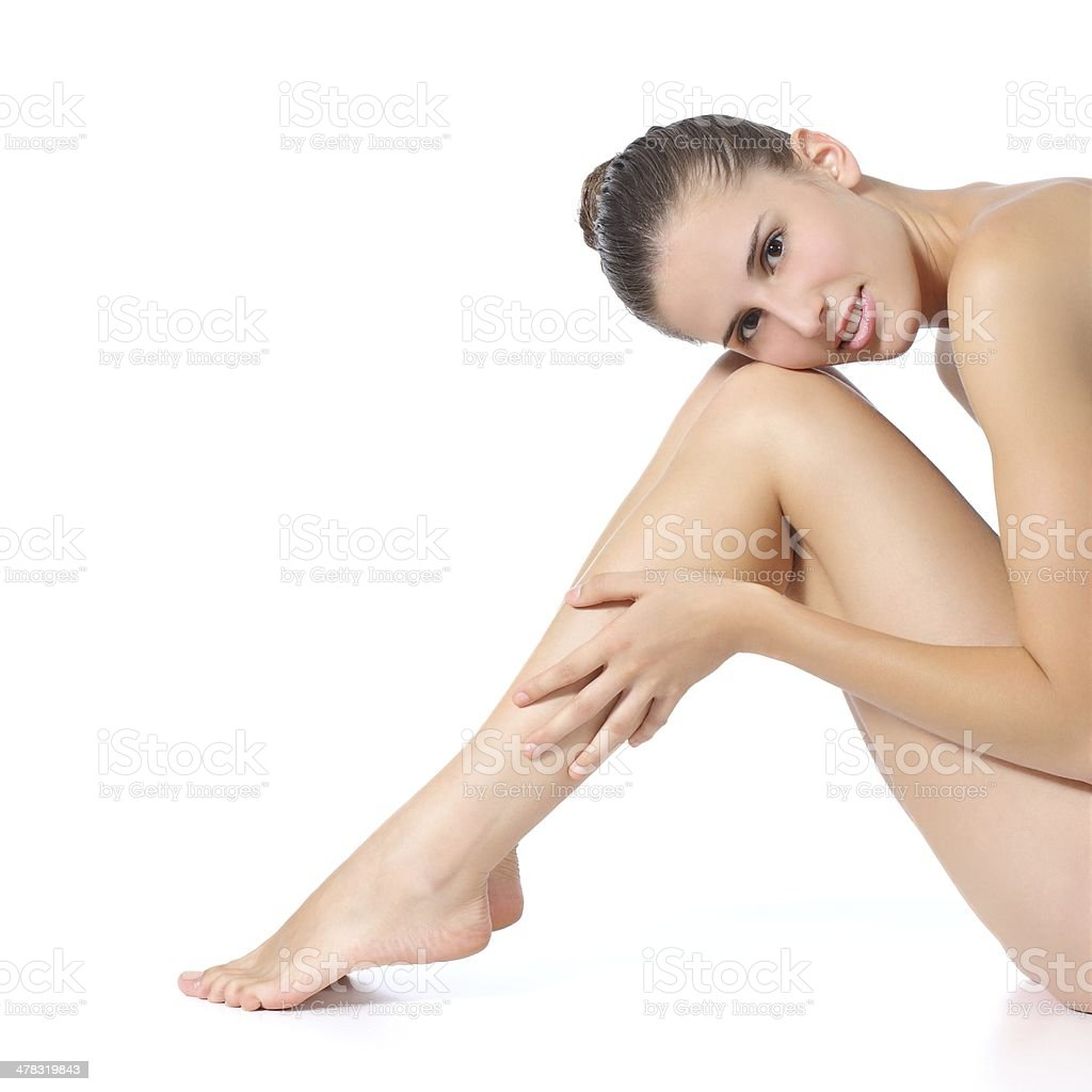 Beautiful perfect woman posing with long legs royalty-free stock photo