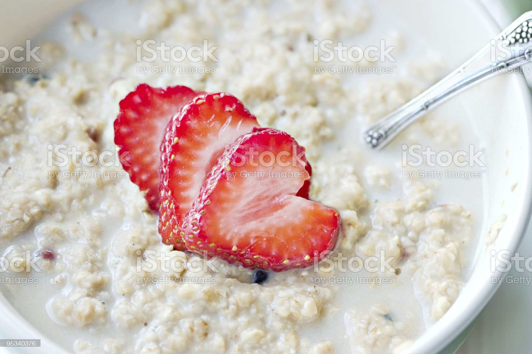 Beautiful photograph of an Oatmeal with strawberries royalty-free stock photo