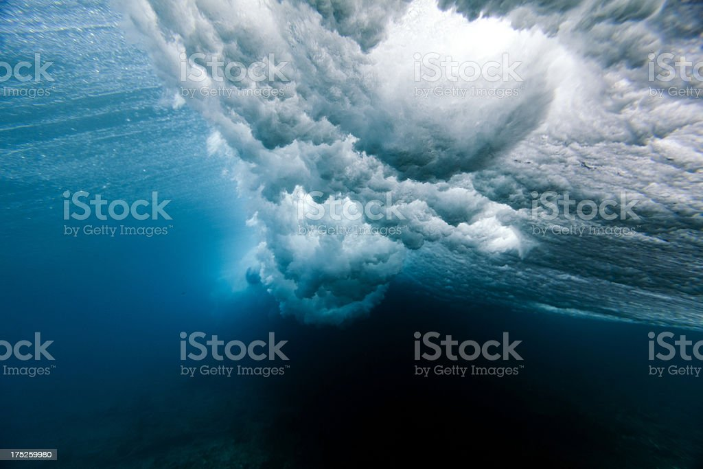 Beautiful picture of a wave crushing underwater stock photo