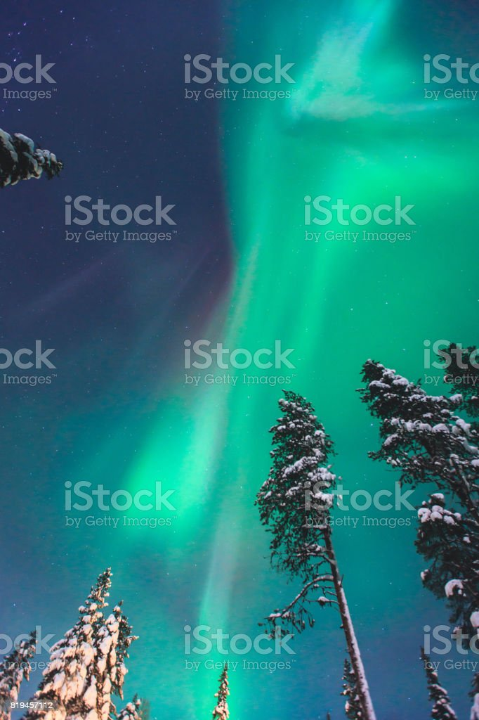 Beautiful picture of massive multicoloured green vibrant Aurora Borealis, Aurora Polaris, also know as Northern Lights in the night sky over winter Lapland, Norway, Scandinavia stock photo