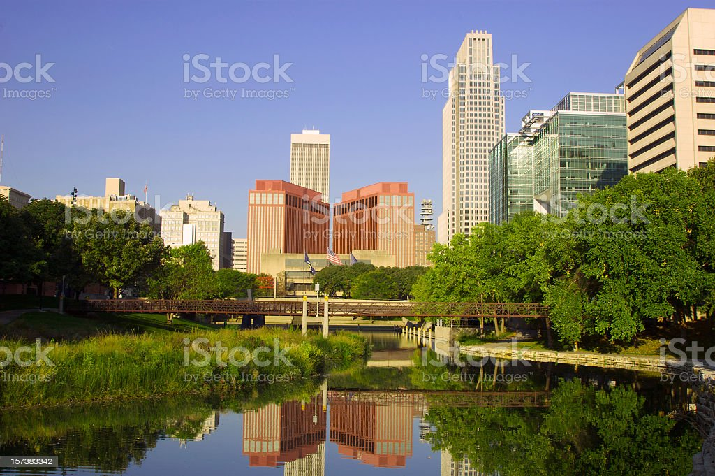 Beautiful picture of Omaha at dawn stock photo