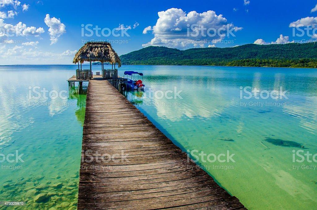 Beautiful pier at Lake Peten - Guatemala stock photo