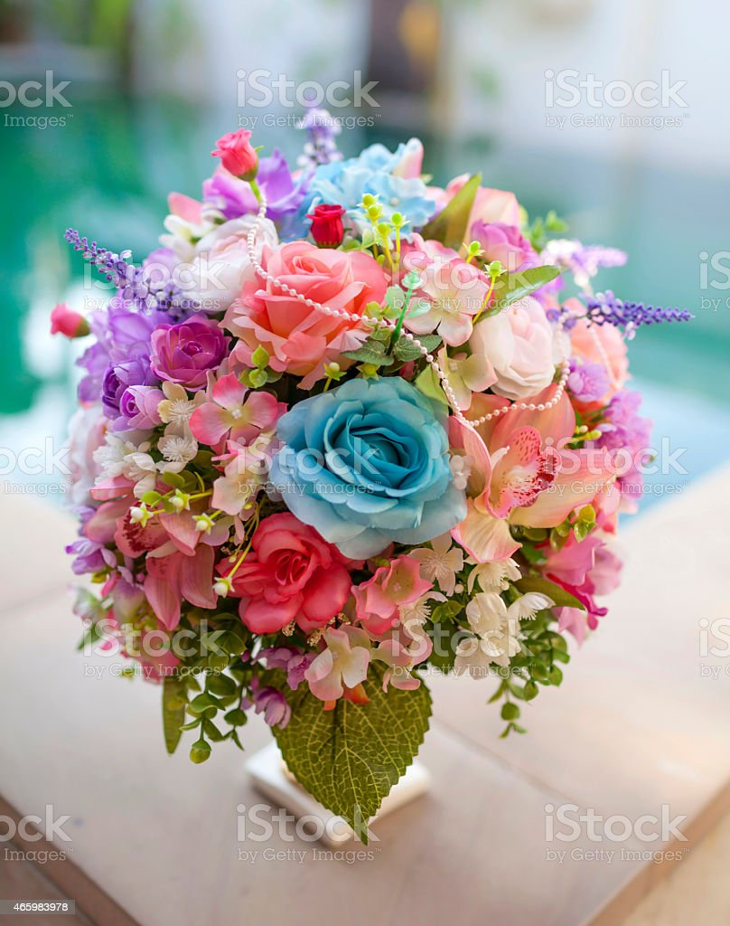 Beautiful pink and blue set flower bouquet royalty-free stock photo