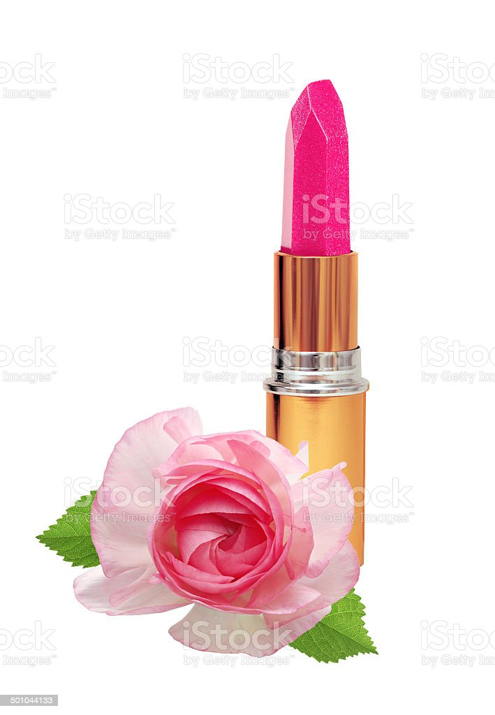beautiful pink lipstick in golden tube and pink rose stock photo
