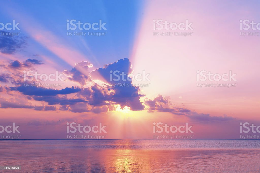 Beautiful pink sunset over sea stock photo