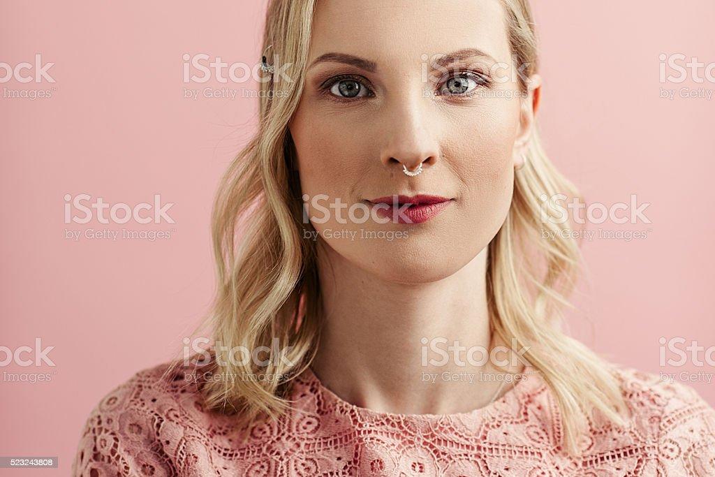 Beautiful pink woman portrait stock photo