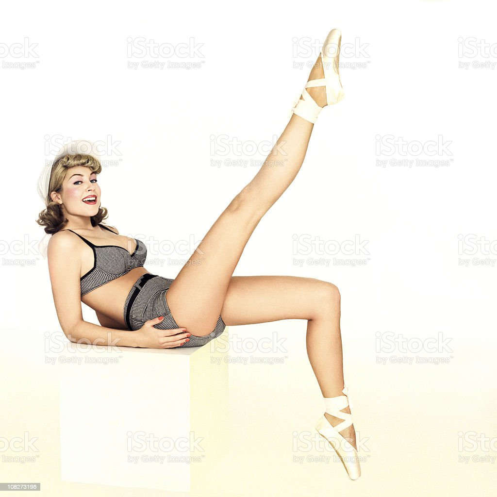 Beautiful Pin-Up Girl In A Bathing Suit stock photo
