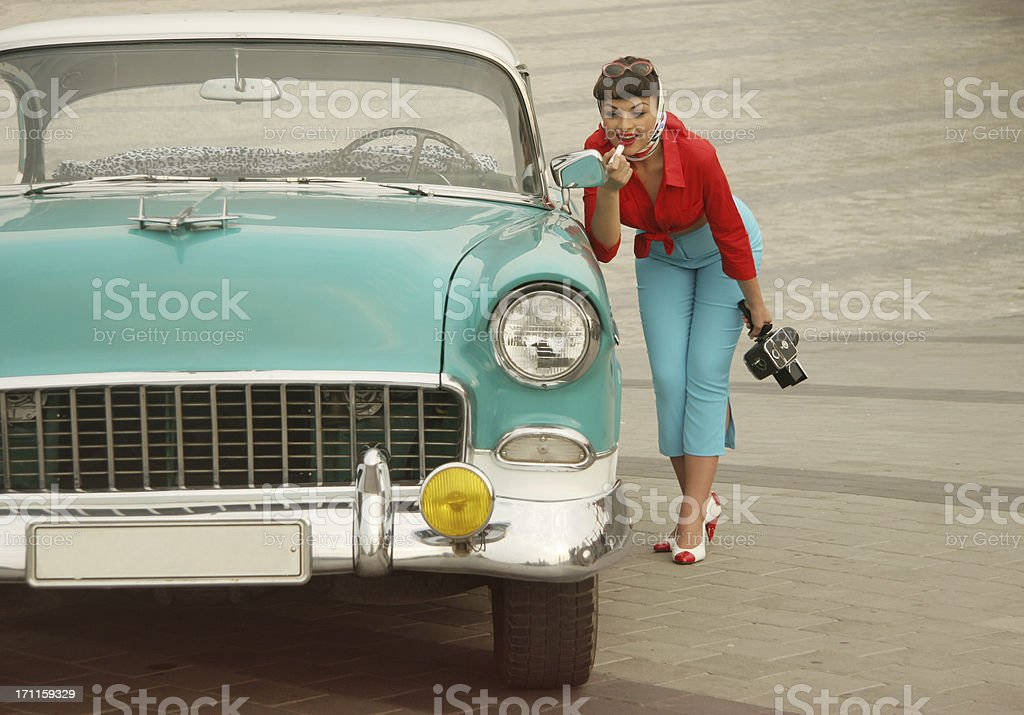 Beautiful Pin-Up Girl  Near The Vintage Car royalty-free stock photo