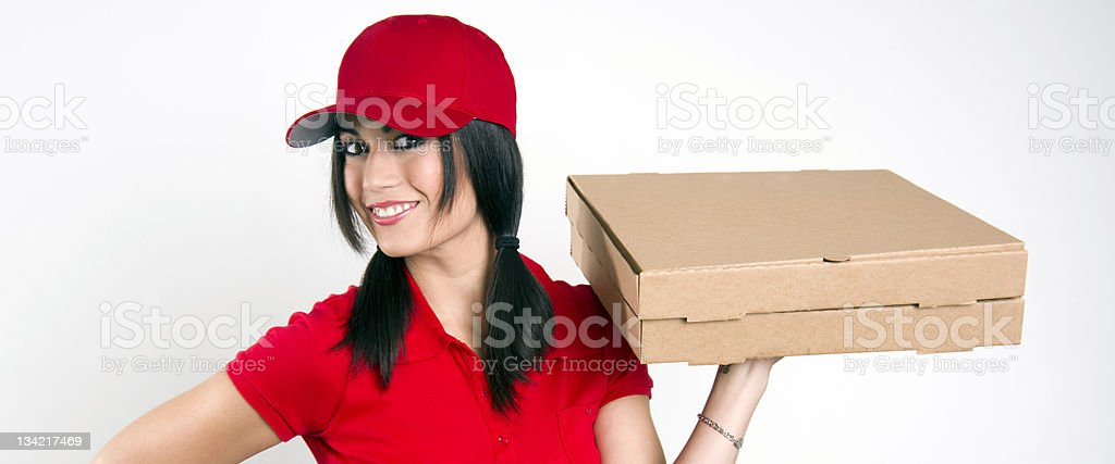 Beautiful Pizza Delivery Woman Employee Package Shipping stock photo