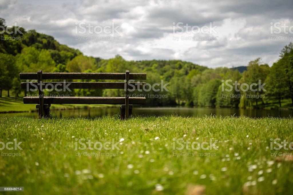 Beautiful place on a lake stock photo