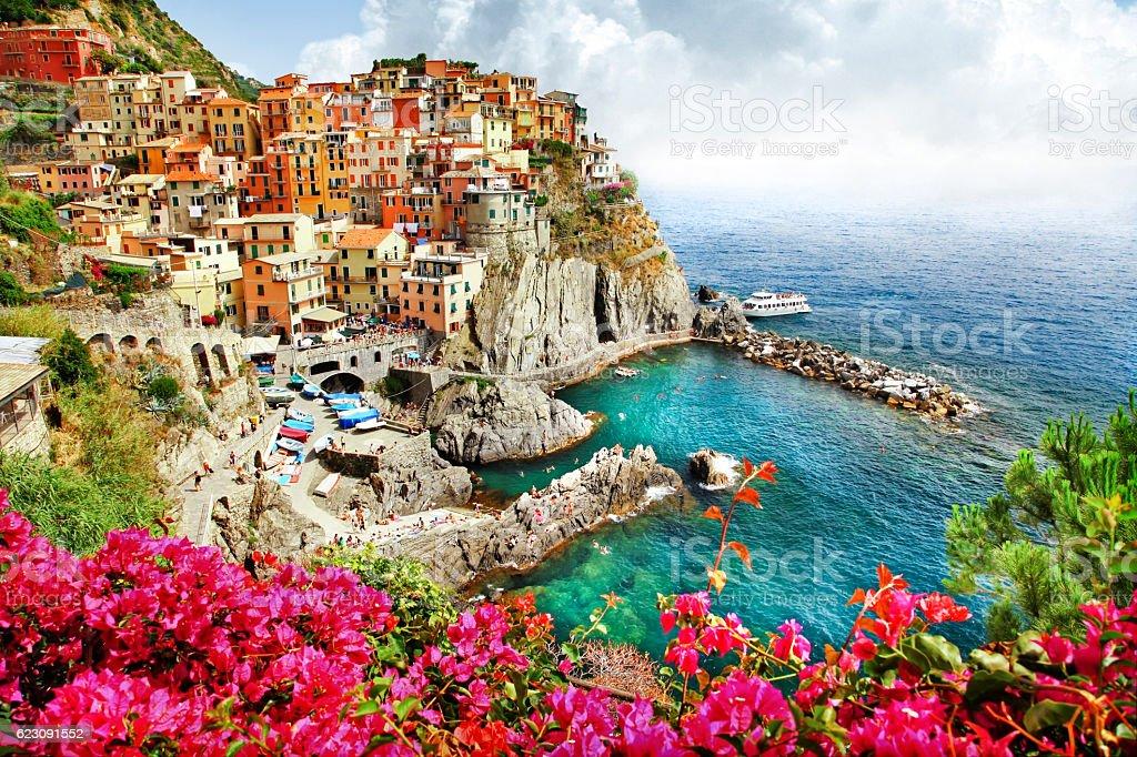 beautiful places of Italy  - Monarola village (Cinque terre) stock photo