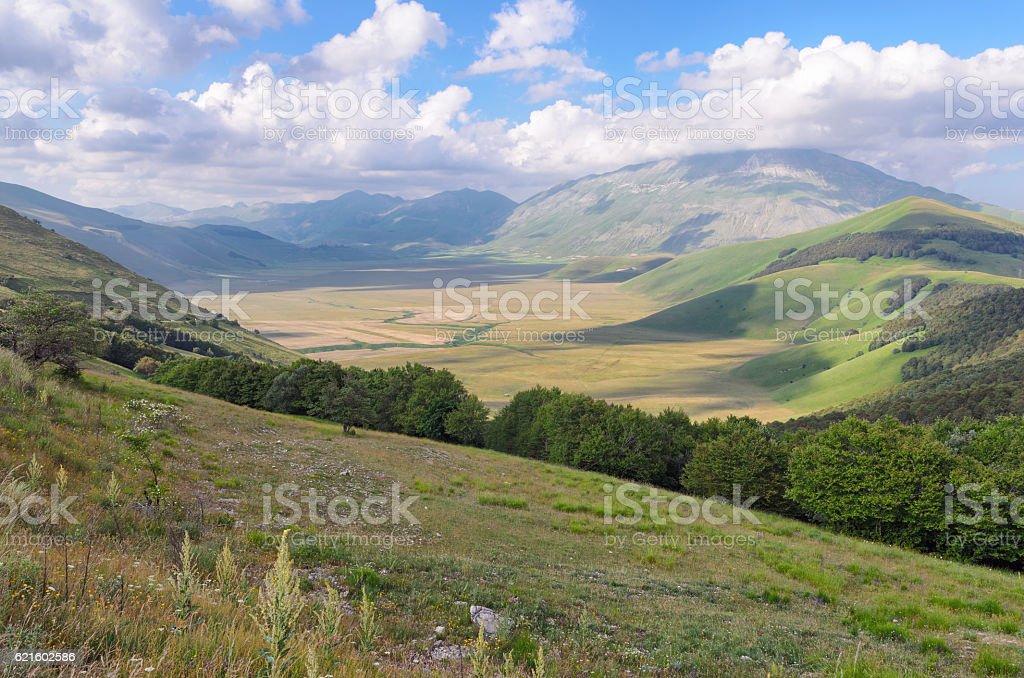 Beautiful plateau near Castelluccio di Norcia (Umbria) stock photo