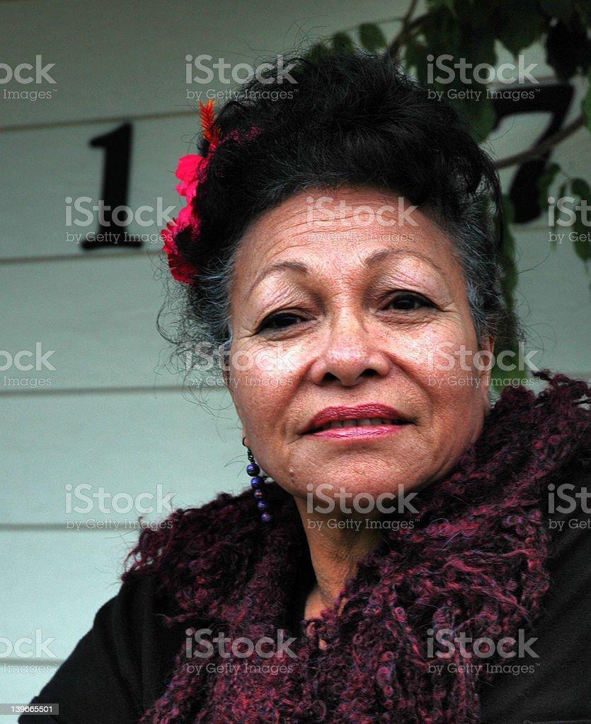 Beautiful Polynesian lady stock photo