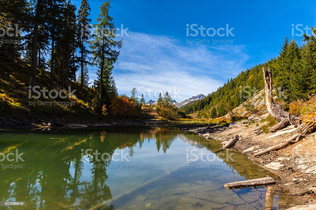 Beautiful pond above the Loetschental valley stock photo