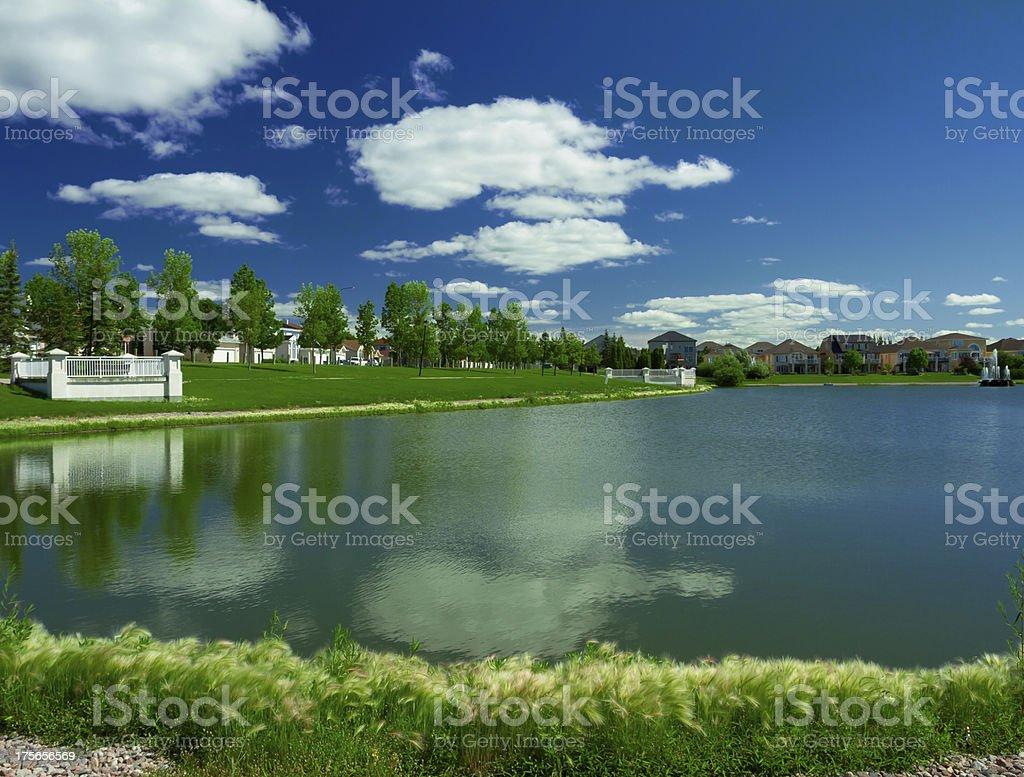Beautiful pond in expensive neighborhood royalty-free stock photo