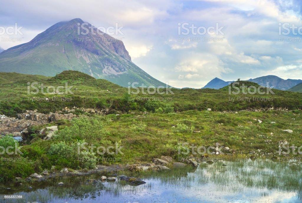Beautiful Pond on Dramatic Blue Sky Background stock photo