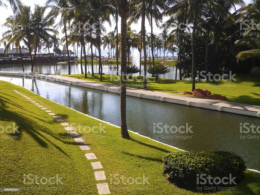 Beautiful ponds and grounds at beach resort Acapulco Mexico stock photo
