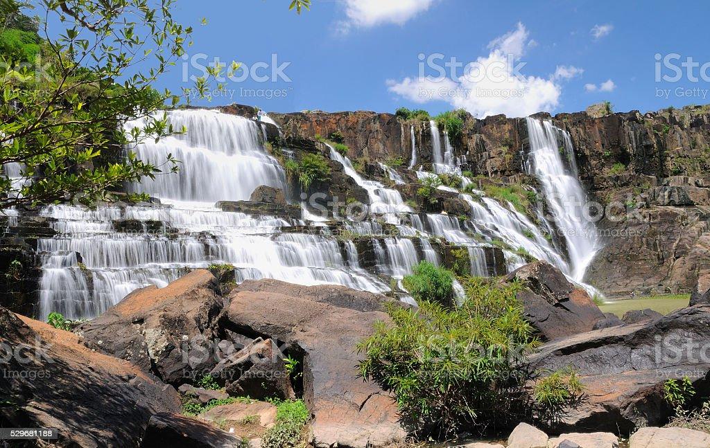 Beautiful Pongour waterfall in Vietnam stock photo