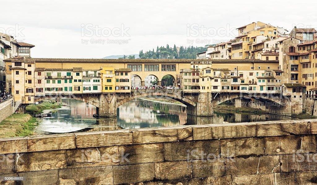 Beautiful Ponte Vecchio and the river Arno, Florence, Tuscany, I stock photo