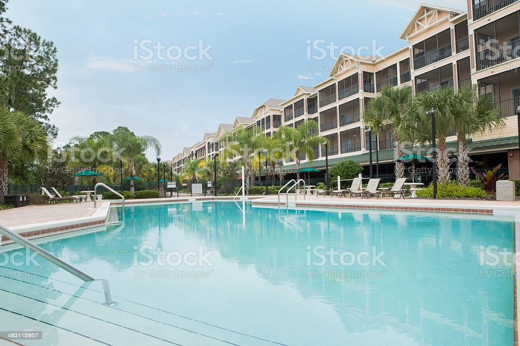Beautiful pool at vacation destination resort royalty-free stock photo