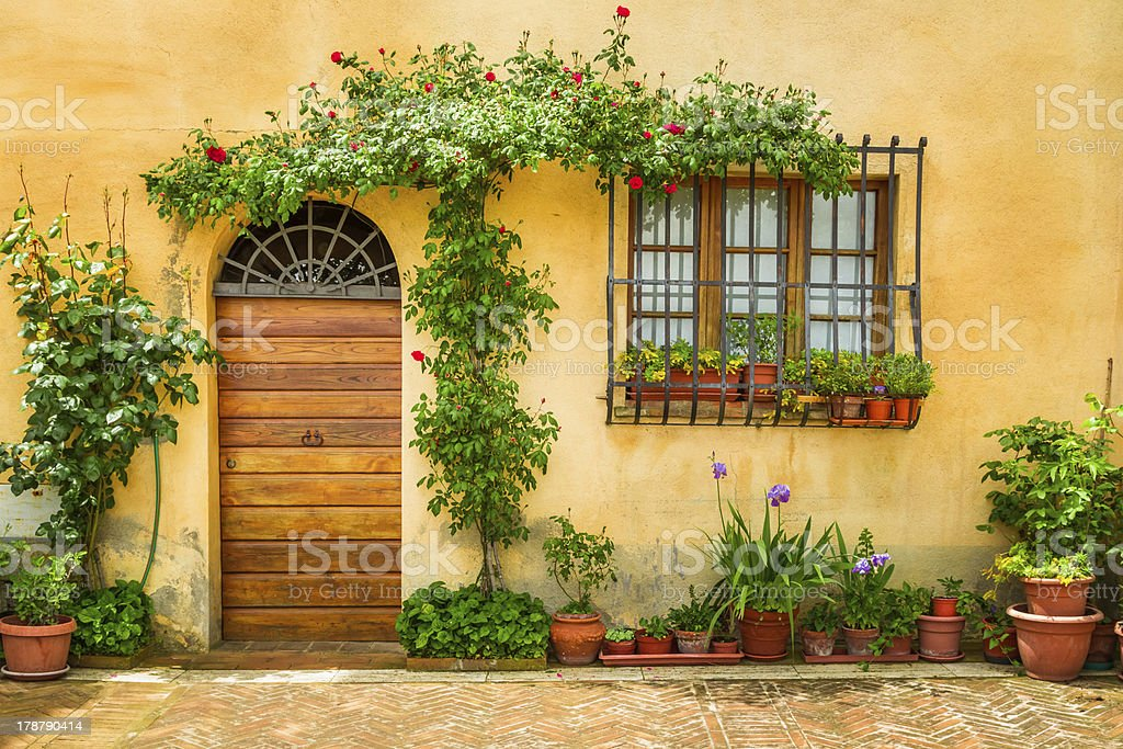 Beautiful porch decorated with flowers in italy royalty-free stock photo