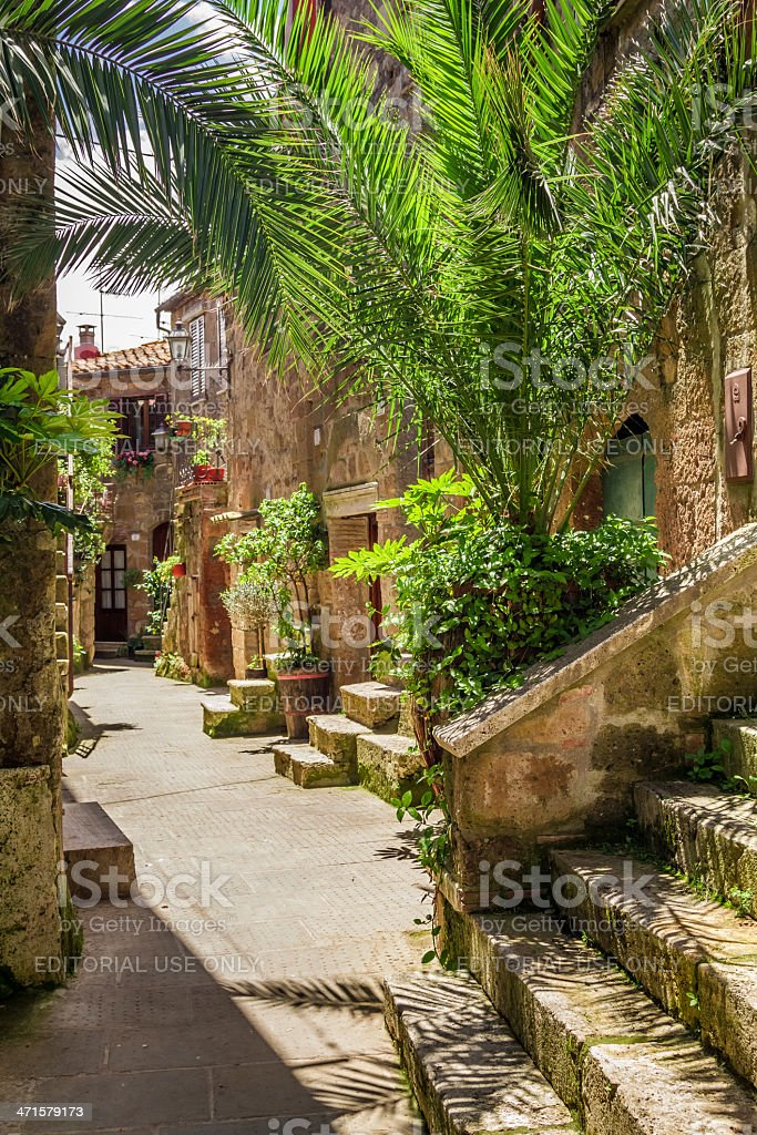 Beautiful porch in the old town, Italy royalty-free stock photo