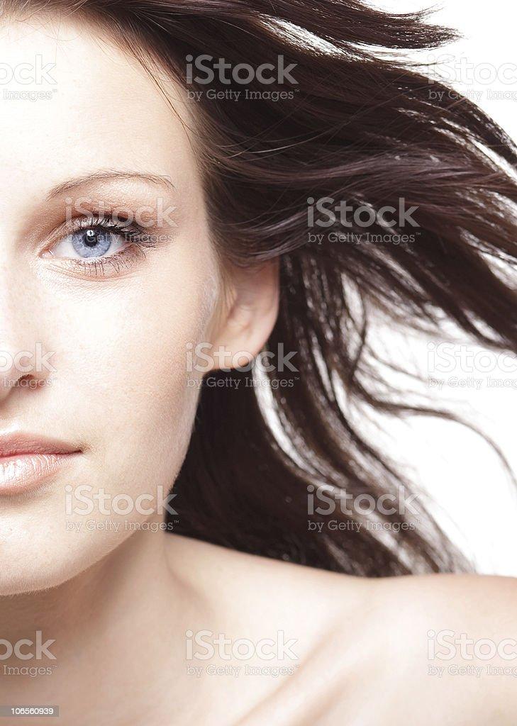Beautiful portrait of a blue-eyed woman. stock photo
