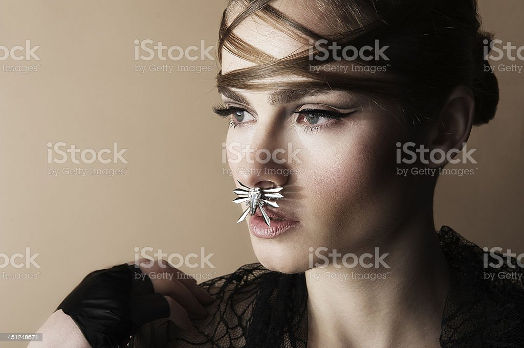 Beautiful portrait of a young woman stock photo