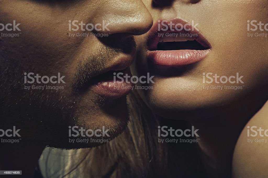 Beautiful portrait of young man lips stock photo
