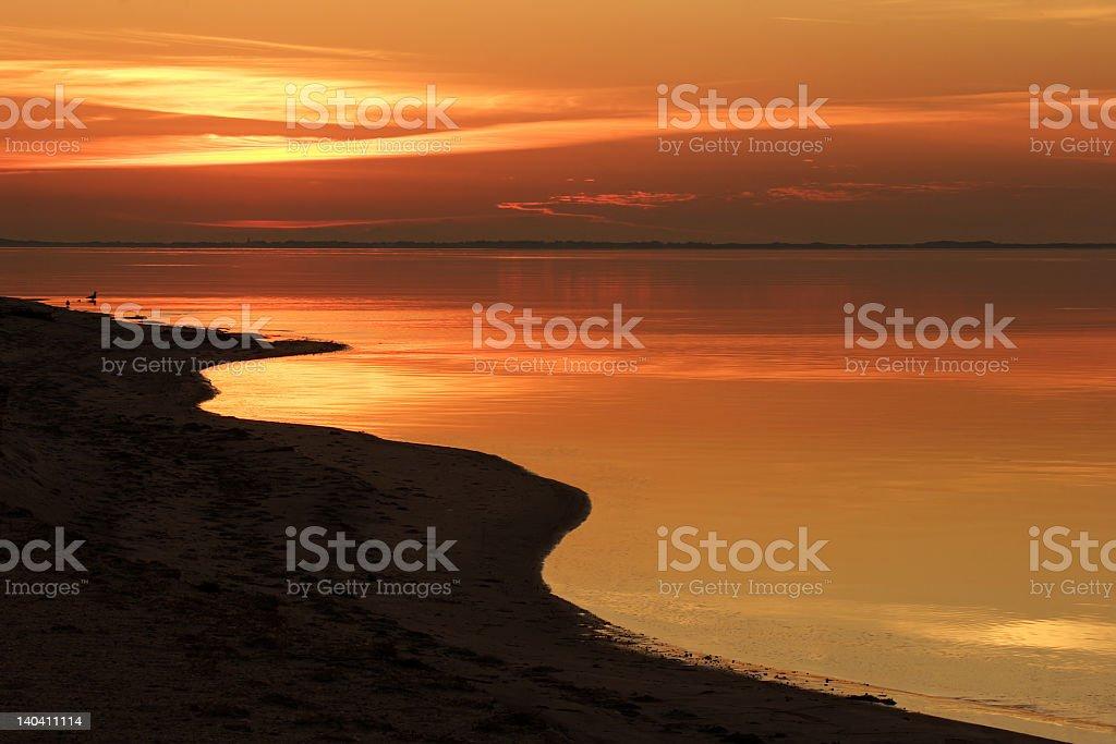 Beautiful post of twilight on the ocean stock photo
