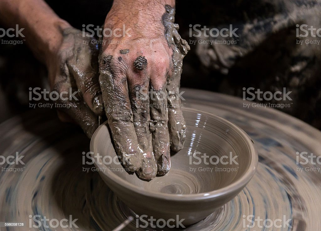 beautiful pottery making in Thailand stock photo