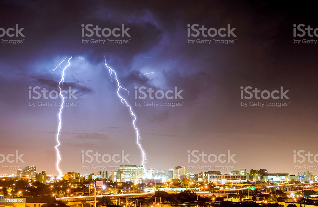 Beautiful Powerful lightning over Downtown Miami royalty-free stock photo